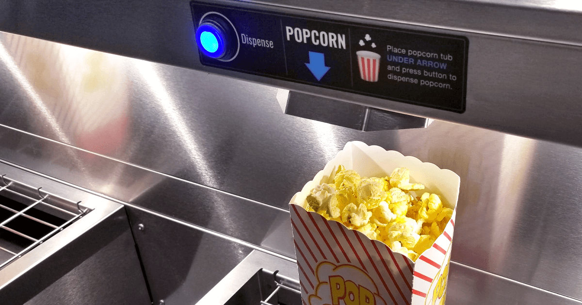 Gold Medal contactless popcorn dispensing stations