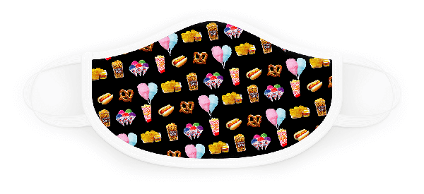 Black with Assorted Fun Foods Face Covering (Item #6665)